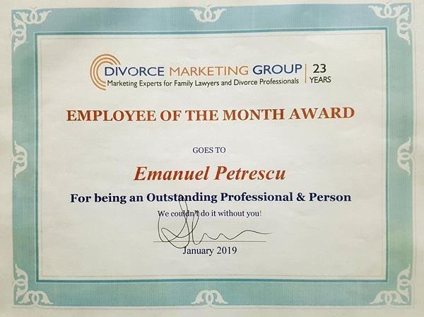 employee of the month award received by Emanuel form his company