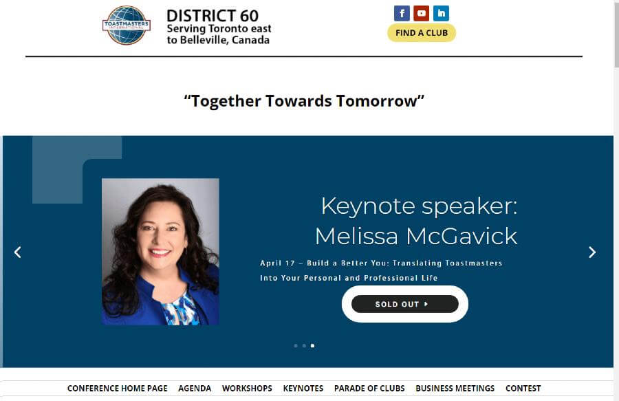 Image of the header slider with Melissa McGavick as a keynote speaker for District 60 Toastmasters 2021 Virtual Conference