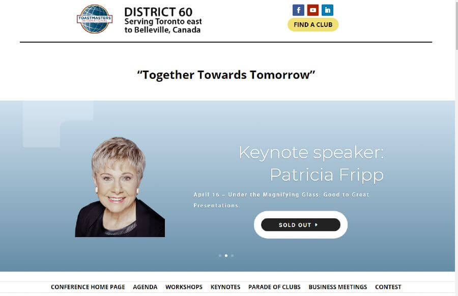 Image of the header slider with Patricia Fripp as a keynote speaker for District 60 Toastmasters 2021 Virtual Conference