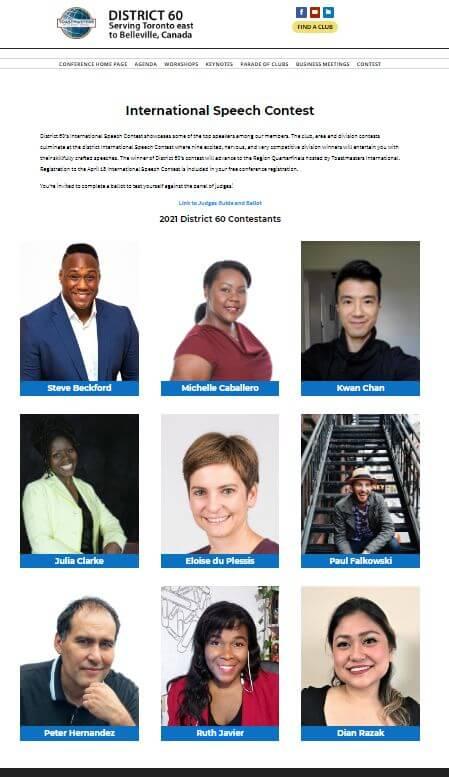 Toastmasters District 60 2021 Internation Speech Contest Speakers