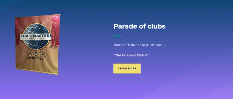 Image of the parade  of club sections on the homepage